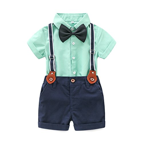MHSH Baby Gentleman Outfit Boy Short Sleeve Shirt Suspender Pants with Bowtie (Green, 70/3-6M) -