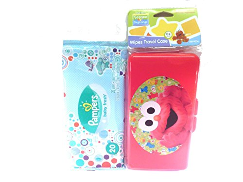 Sesame Street Beginnings Elmo's Baby Wipes Travel Case + Pampers Baby Fresh Wipes Starter Pack Bundled Set Diaper Bag Travel Gift Set