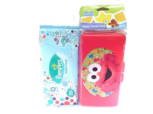 Sesame Street Beginnings Elmo's Baby Wipes Travel Case + Pampers Baby Fresh Wipes Starter Pack Bundled Set Diaper Bag Travel Gift Set