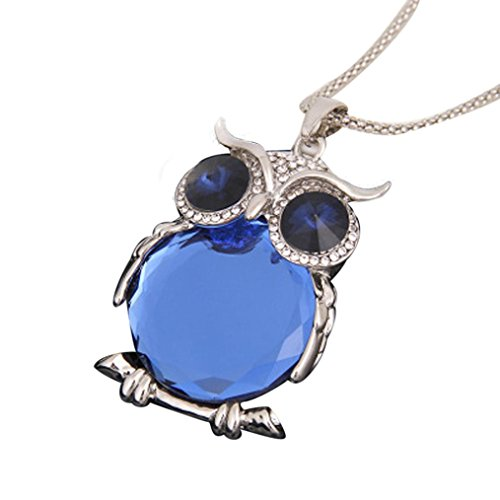 Challyhope Lucky Cute Owl Pendant Crytal Graceful Sweater Chain Long Necklace Jewelry Gifts For Womens Girls (Silvery White + Blue, Alloy) ()