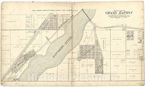 - Historic 1909 Map | Standard Atlas of Wood County, Wisconsin | South Part of Grand Rapids 74in x 44in