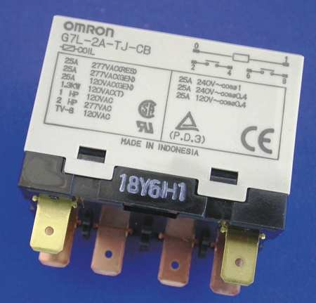 Omron G7L-2A-T-J-CB-AC24 General Purpose Relay With Test Button, Class B Insulation, Class B Insulation, QuickConnect Terminal, E Bracket Mounting, Double Pole Single Throw Normally Open Contacts, 71 mA Rated Load Current, 24 VAC Rated Load Voltage ()