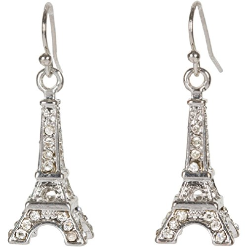 Eiffel Tower Paris Earrings in Crystal and Silver Tone