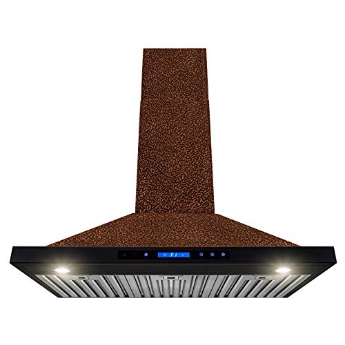AKDY Wall Mount Range Hood -36″ Embossed Copper Hood Fan for Kitchen – 4-Speed Professional Quiet Motor – Premium Touch Control Panel – Elegant Design – Baffle Filter & Halogen Lamp
