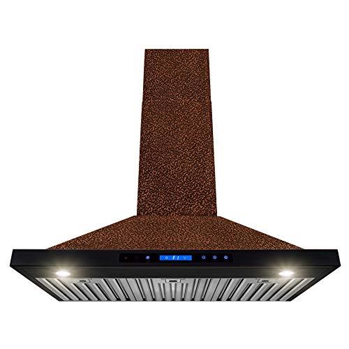 AKDY Wall Mount Range Hood -36″ Embossed Copper Hood Fan for Kitchen – 4-Speed Professional Quiet Motor – Premium Touch Control Panel – Elegant Design – Baffle Filter & Halogen Lamp