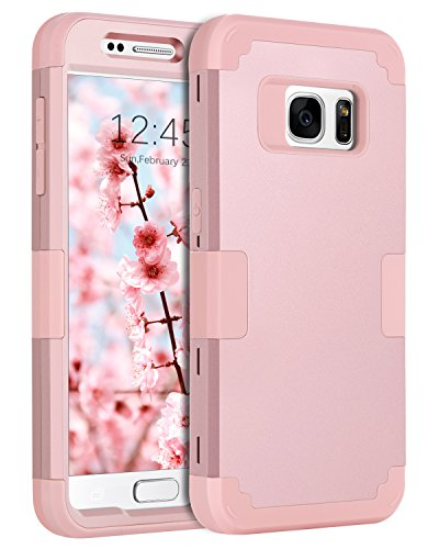 Galaxy S7 Case, BENTOBEN Heavy Duty Slim Shockproof Drop Protection 3 in 1 Hybrid Hard PC Front and Back Anti-Slip Soft Rubber Bumper Protective Phone Cover Case for Samsung Galaxy S7, Rose Gold