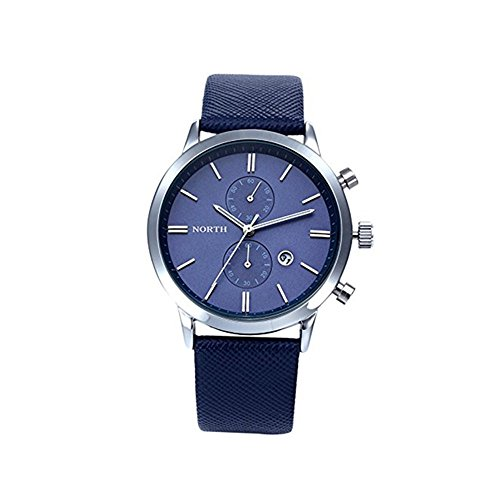 - Clearance! Charberry Mens Swiss Five-Pin Watch Casual Waterproof Date Leather Military Gift Watch (B)