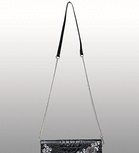 Frauen Luxuriöse Strass Clutch-Taschen Große Kapazität Party Taschen Abendtaschen Elegante Schulter Messenger Bags Silver z7DmIaV8c