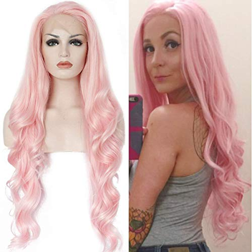 Ebingoo Natural Long Wave Pink Synthetic Front Lace Wig For White Women 24 inch