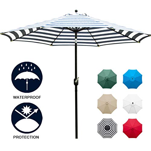 Sunnyglade 9' Patio Umbrella Outdoor Table Umbrella with 8 Sturdy Ribs (Blue and White) (Navy Blue Patio Umbrella With White Pole)