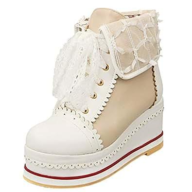 Zanpa Women Sweet Lace Booties Flatform Lace up Ankle Boots Autumn Shoes Platform Boots Black-Danli Size 32