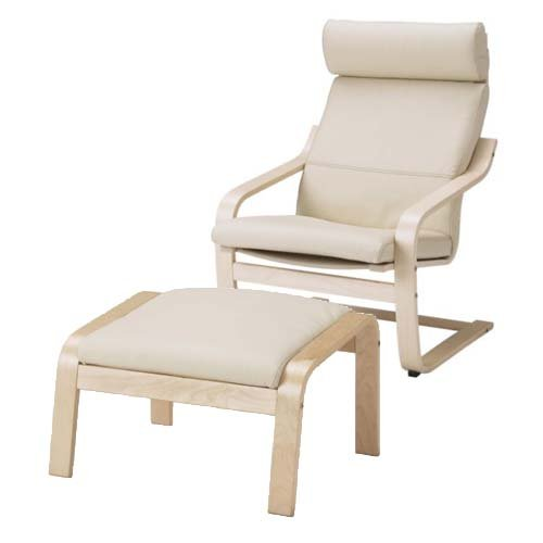 Beau Ikea Poang Chair Armchair And Footstool Set With Off White Leather Covers
