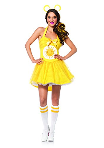 Leg Avenue Women's Care Bears 2 Piece Funshine Bear Costume, Yellow, (Care Bears Halloween Costumes Adults)