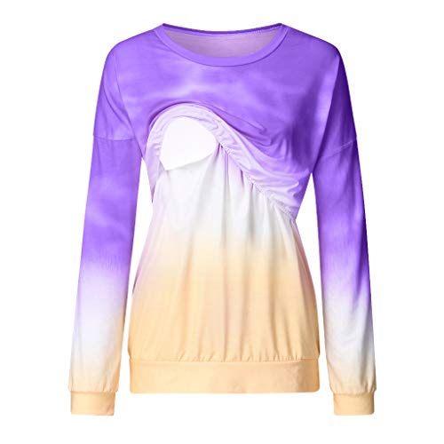 Maternity Nursing Top Shirt,Crytech Fashion Pregnancy Gradient Color Long Sleeve Double Layer Pullover Sweatshirt for Breastfeeding Pregnant Women Trendy Casual Tee Tshirt (X-Large, Purple)