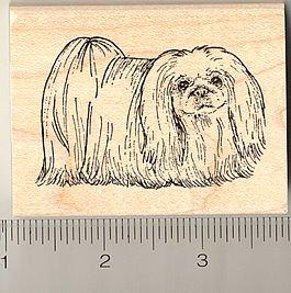 Pekingese Rubber Stamp - Wood Mounted