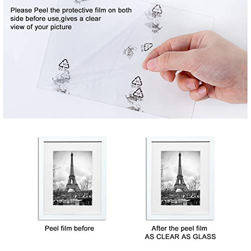 upsimples 11x14 Picture Frame Set of 5,Display Pictures 8x10 with Mat or 11x14 Without Mat,Wall Gallary Photo Frames,White