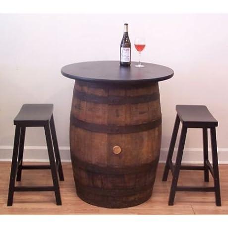 White Oak Whiskey Barrel Table Pub Bistro Bar C 2 24 Bar Stools