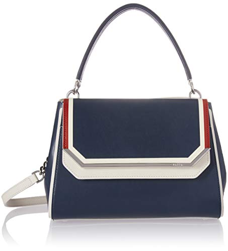 (Calvin Klein Tessie Calf Split Leather Top Handle Flap Over Satchel, navy combo )