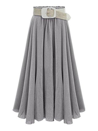 DaBag Femmes Mode Ample Taille Haute Taille Elastique Tencel Pliss jupe Mi Longue Jupe Plage A-Word(envoyer la ceinture) Gris