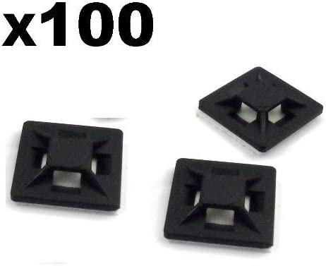 50 pezzi Socket Adesiva per Fascette per cavi 20 x 20 mm supporto socket autoadesivo