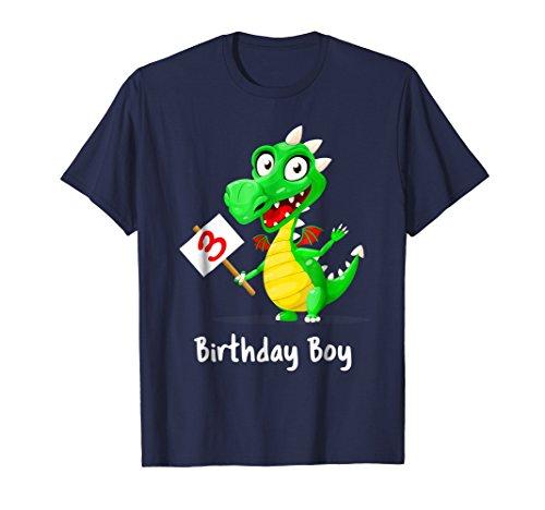 Boy 3rd Birthday Dragon T Shirt Cute Green Friendly Dragon