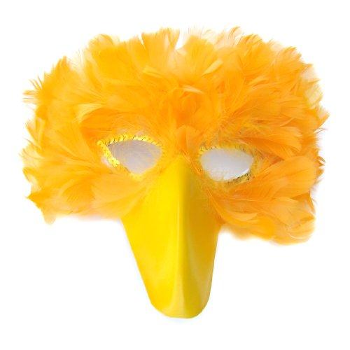 SACASUSA (TM) True Yellow Feather Bird Mask with yellow beak