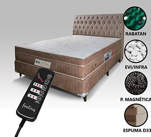 Colchão Magnético Com Energia Bio Quântica e Massageador + Box + Cabeceira Completo Casal (Bege Escuro Cabeceira Bege Escuro)