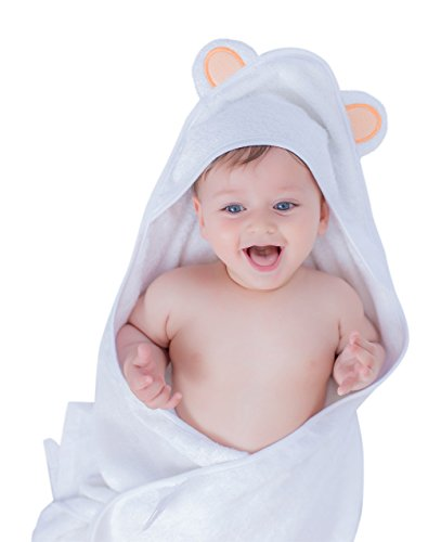 Brightgiggles Hooded Baby Bath Towel - 2 Bamboo Baby Washcloths - Organic - Cotton - Bamboo - Soft- Hypoallergenic- Antibacterial - Keeps Baby Dry Warm and Comfortable - For Infants and Toddlers