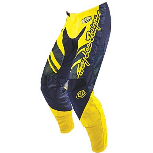 (Troy Lee Designs GP Air Flexion Men's Off-Road Motorcycle Pants - Black/Flo Yellow/Size 28)