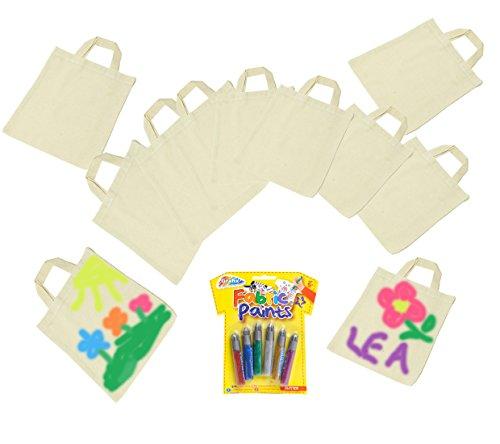 10x Tragetaschen + 1 Packung Textilmalstifte, Baumwollbeutel, Mitgebseltaschen, Partytaschen, basteln, malen, Textilgestaltung