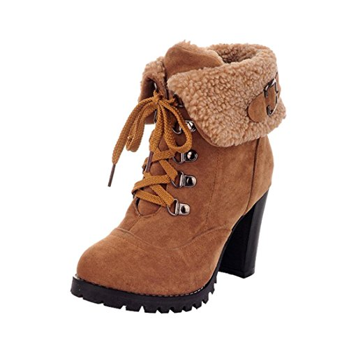 { Women Boots },Hunzed Fashion { Plush Ankle } Boots { Lace-up } Shoes Ladies Casual { High Heel } Shoes (Yellow, 38)