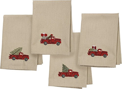 Primitives by Kathy Stitch Art Dinner Napkins Set, Truck with Christmas Tree