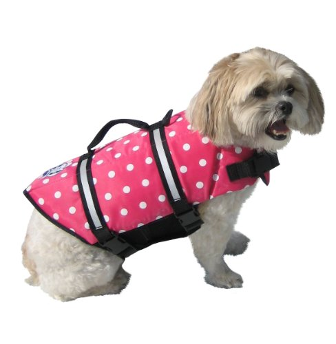 Image of Paws Aboard PP1200 Fido Pet Products  Doggy Life Jacket, X-Small, Pink Polka Dot