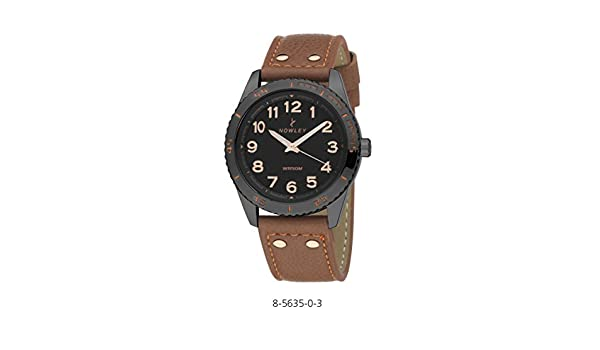 Reloj analógico hombre marca Nowley, con correa cuero marron, esfera en negro caja en acero negro: Amazon.es: Relojes