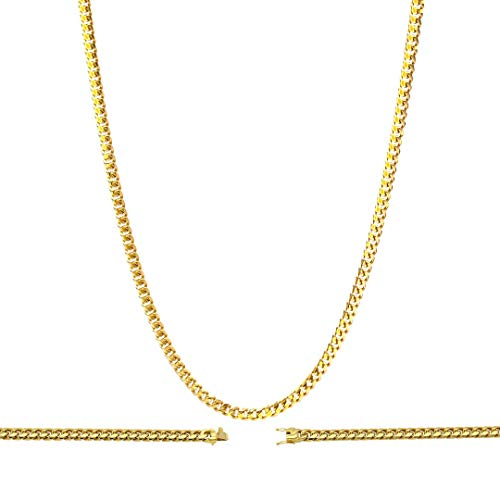 """BEBERLINI Cuban Link Necklace 18k Gold Plated with Box Clasp Miami Chain Stainless Steel Fashion Jewelry 6 mm 30"""" Long Men Women"""
