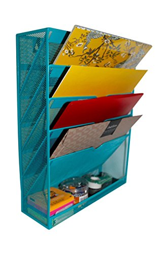 Mesh Cascading Wall File Holder Organizer | Mounted Hanging Mail Rack | 5 Compartments - (Teal) by Noe&Malu