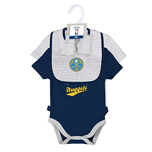 Outerstuff NBA Newborn Team Awesome 2 Piece Onesie, Bib and Bootie Set Denver Nuggets-Cool Grey-3-6 Months (Set Denver Nuggets)