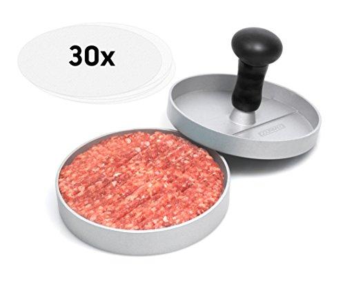 GOURMEO Premium Burgerpresse + 30 Blatt Antihaftpapier aus Aluguss mit Antihaftbeschichtung | mit 2 Jahren Zufriedenheitsgarantie - Hamburgerpresse / Hamburger-Presse / Burger Maker