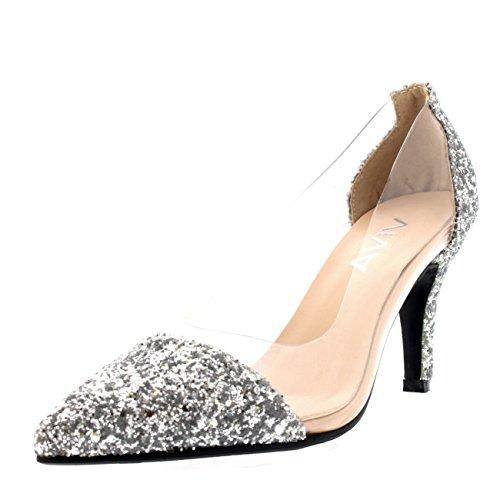 Mujer Dedo Puntiagudo Plexiglás Claro Mediados De Talón Moda Separar Zapatos De La Corte Plata Resplandecer