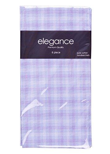 Retreez 6 Piece Pure Cotton Checked Men's Handkerchiefs Hanky Hankie - Light Purple Plaid by Retreez