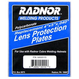 Radnor Polycarbonate Plate For Radnor Welding Helmets - Description: 4 1/2