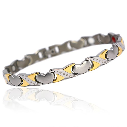Novoa Women 's Quad-Element Titanium Two-Tone Silver and Gold Magnetic Bracelet with Satin Accents - 12,800 Gauss B428J