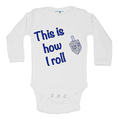 Snappy Suits This is How I Roll Hanukkah Dreidel Cute Baby One Piece Suit Romper By (6-12 Months, Long Sleeve) ()