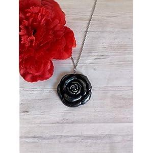 Collana rosa nera lunga idea halloween costume rosa gotica collana dark gioielli da donna floreali rosa in porcellana… 1 spesavip