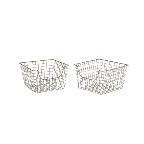 Spectrum Diversified Scoop Wire Storage Basket, Medium, Satin Nickel, 2-Pack - USE STORAGE AS DECORATION: Scooped front makes it easy to grab the items you need out of storage. The wire is stylishly thin, yet sturdy; it can hold heavy canned goods or candles without problem, but the lightweight design creates a modern look. Wrapped wire ends and grid designs create a popular rustic look that will complement farmhouse-style homes. STORE A VARIETY OF ITEMS: Sturdy steel with smooth welds makes this basket appropriate for a variety of items. Slide a basket full of scarves or hats onto your front closet's shelf, keep bath accessories nearby with open storage, or tidy up your pantry by storing all your snacks inside. The durable construction and stylish design make this basket appropriate for storage in any room—from the kitchen to the garage. VIEW ITEMS INSIDE WITH OPEN DESIGN: Open wire design allows you to see the items inside the basket, which makes it easy to find the ingredient, toy, scarf, or any other item you need. Keep your closets, pantry, kitchen cabinets, garage shelves and more organized without sacrificing easy access. - living-room-decor, living-room, baskets-storage - 41OyltoCrIL. SS570  -