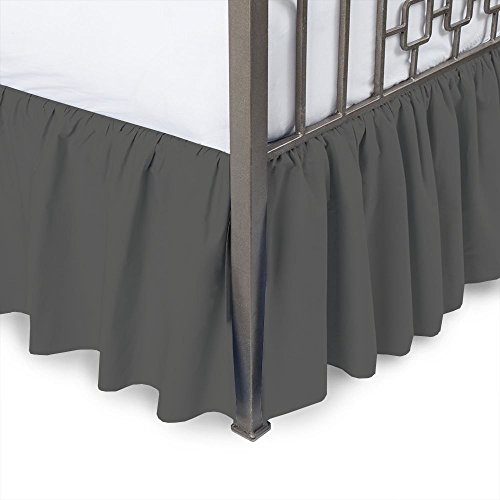 Sleepwell Dark Grey Solid, Full Size Ruffled Bed Skirt 12 In