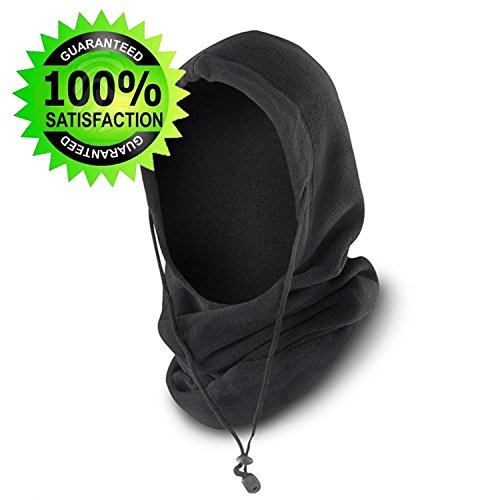 Balaclava - Durable, 6-in-1 Multi-Purpose Winter Hat/Hood, Best Thermal Insulated Windproof Face Mask– Black Heavyweight Fleece for Ultimate Outdoor Protection on Your Motorcycle, Snowmobile or Skis