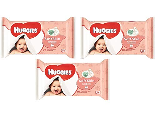 Huggies Soft Skin Baby Wipes, Soft Pack, with Shea Butter 56 Ct (3 Packs) 168 Total Wipes(Package may vary)