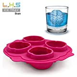 Mikey Store Silicone Ice Cube Tray Easy Pop Maker Heart Shape /Brain Shaped / Duck Shaped Cubes Mould (Red)