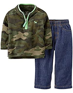 Carters Infant Boys 2 Piece Outfit Camouflage Fleece Moose Jacket Blue Jeans